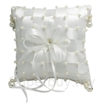White Checkered Ring Pillow with Beads (Scented)