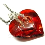 Heavenly Creation Pendant Spiral with Truly In Love Heart Pendant Red Magma - 278P-2