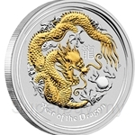 2012 Year of Dragon Gilded Edition 1oz Lunar Silver Coin