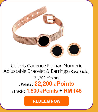Celovis Cadence Roman Numeric Adjustable Bracelet and Stud Earring