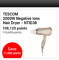 TESCOM 2000W Negative Ions Hair Dryer - NTID38