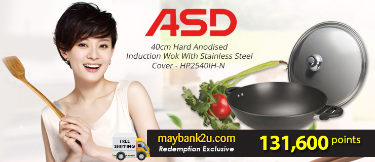 ASD 40cm Hard Anodised Induction Wok With Stainless Steel Cover - HP2540IH-N