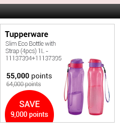 Tupperware Slim Eco Bottle with Strap (4pcs) 1L - 11137394+11137395
