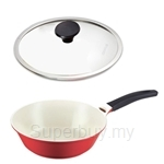 Lock & Lock 28cm Cookplus Ceramic Wok with Glass Lid