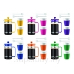 Bodum Bistro Coffee Set (French Press Coffee Makers 8 Cups + 2 Cups + 2 Spoons) - Assorted Colours
