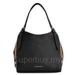 Burberry Small Canter in Leather and House Check (Black) - 39589751