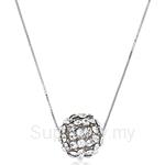 Kelvin Gems Glam Big Silver Diva Ball Pendant Necklace