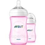 Philips Avent Natural Pink Bottle 9oz / 260ml Twin Pack - SCF694-27