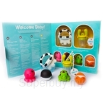 Kidsme Welcome Baby Gift Set (Icy Moo Moo Soother + Food Feeder with Chain Holder + Bathz Ocean)