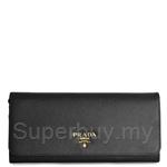 Prada Saffiano Triangle Leather Wallet In Nero - 1MH132