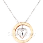 Poh Kong You Are In My Heart 18K Rose & White Gold Diamond Pendant - 366849
