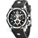 Bonia Black Rubber Strap Black Dial Chronograph Men Watch - BNB788-1932C