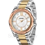 Bonia Two Tone Yellow Gold Stainless Steel Crystal Bezel Ladies Watch - BNB796-3155