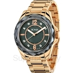 Bonia All IP Yellow Gold Stainless Steel Crystal Bezel Ladies Watch - BNB796-3535