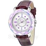 Bonia Purple Leather Strap Crystal Bezel Ladies Watch - BNB797-3305