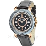 Bonia All Black Leather Strap Crystal Bezel with IP Rose Gold Case Ladies Watch - BNB797-3535