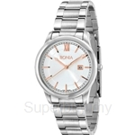 Bonia Stainless Steel White Dial with Rose Gold Index Ladies Watch - BNB836-2313