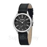 Bonia Black Leather Strap Black Dial Ladies Watch - BNB961-2339