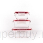 Pyrex 3pcs Square Storage Set (White Lid With Red Silicone)