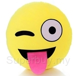 Happy Hoops 30cm Ops Tongue Out Funny Face Emoji Cushion