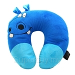 Happy Hoops Blue Hippo Neck Cushion
