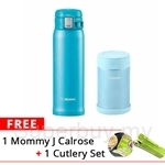 Zojirushi 500ml Stainless Steel Food Jar + 480ml One-touch Mug + MommyJ Calrose Brown Rice Flakes + Cutlery Set (SW-EAE-50-AB + SM-SC-48-AV)