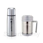 Thermos 0.35L Flip Top Mini Stainless Steel Flask FDX-350(SBK) + 0.45L Desktop Mug Silver DF-0450(SL)