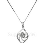 Tomei 9K White Gold Diamond Pendant with 14K White Gold Chain (P5026) - D50072278