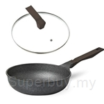 Cheftopf Granoble 28cm Wok With Glass Lid (Non-Induction Base)