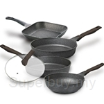 Cheftopf Promo Set (24cm Fry Pan + 28cm Fry Pan + 28cm Grill Pan + 28cm Wok With Glass Lid) (Non-Induction Base)
